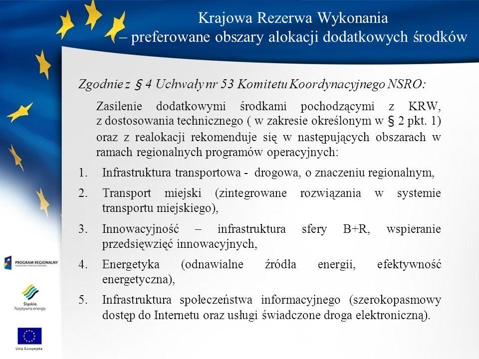 Krajowa Rezerwa Wykonania – preferowane obszary alokacji dodatkowych środków Zgodnie z § 4 Uchwały nr 53 Komitetu Koordynacyjnego NSRO: Zasilenie dodatkowymi środkami pochodzącymi z KRW, z dostosowania technicznego ( w zakresie określonym w § 2 pkt.