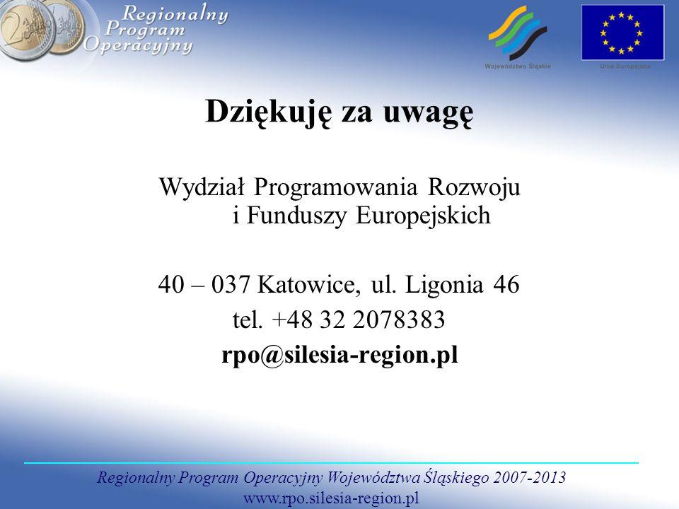 Regionalny Program Operacyjny Województwa Śląskiego 2007-2013 www.rpo.silesia-region.pl Dziękuję za uwagę Wydział Programowania Rozwoju i Funduszy Eur
