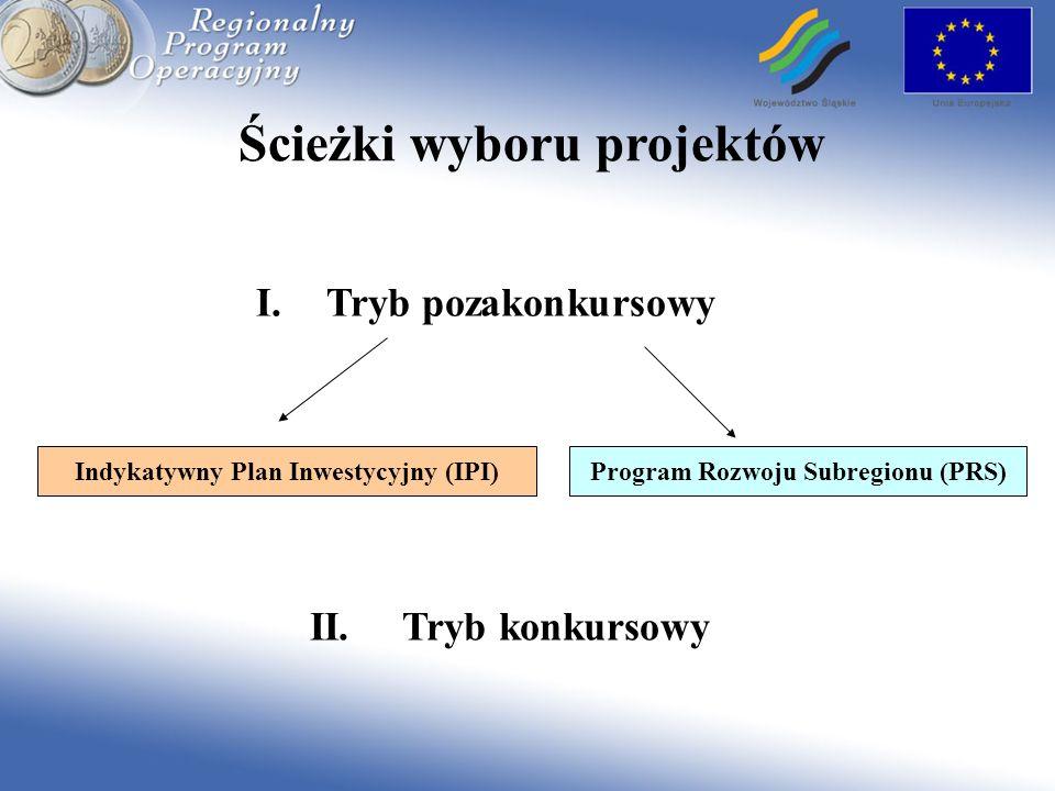 Ścieżki wyboru projektów I.Tryb pozakonkursowy Program Rozwoju Subregionu (PRS) II. Tryb konkursowy Indykatywny Plan Inwestycyjny (IPI)