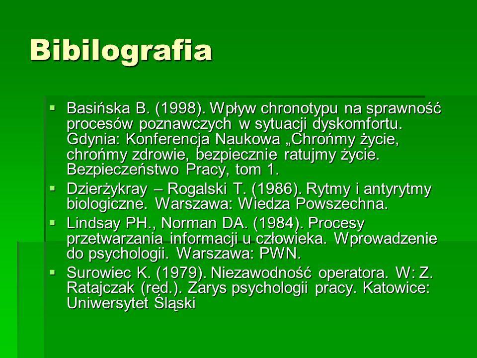 Bibilografia Basińska B. (1998). Wpływ chronotypu na sprawność procesów poznawczych w sytuacji dyskomfortu. Gdynia: Konferencja Naukowa Chrońmy życie,