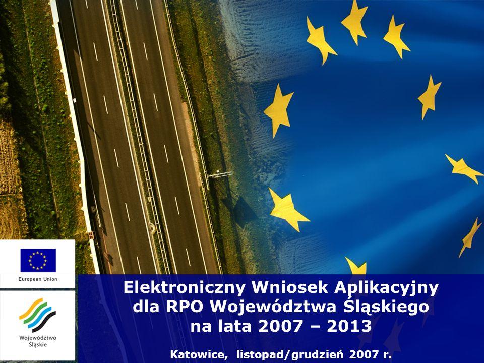 Elektroniczny Wniosek Aplikacyjny dla RPO Województwa Śląskiego na lata 2007 – 2013 Katowice, listopad/grudzień 2007 r.