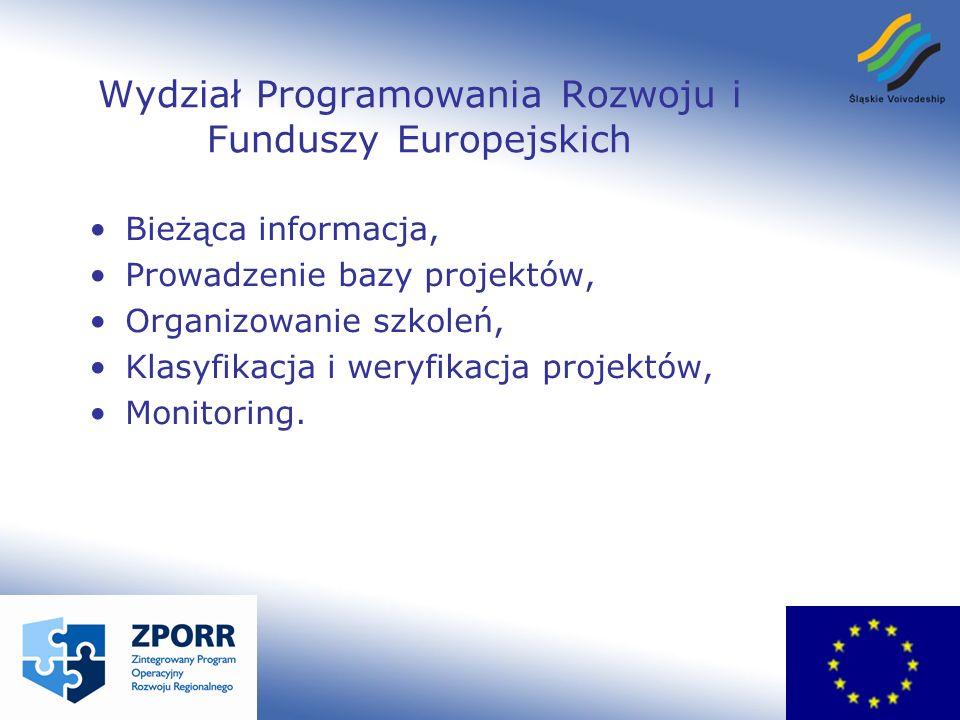 Wydział Programowania Rozwoju i Funduszy Europejskich Bieżąca informacja, Prowadzenie bazy projektów, Organizowanie szkoleń, Klasyfikacja i weryfikacja projektów, Monitoring.