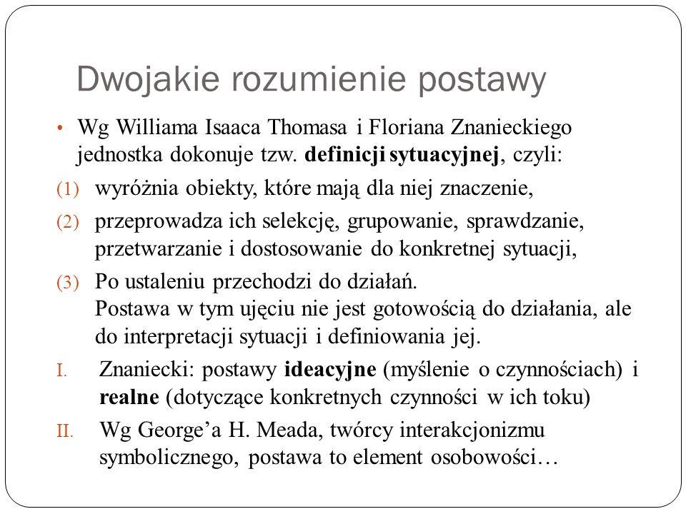 Dwojakie rozumienie postawy Wg Williama Isaaca Thomasa i Floriana Znanieckiego jednostka dokonuje tzw. definicji sytuacyjnej, czyli: (1) wyróżnia obie