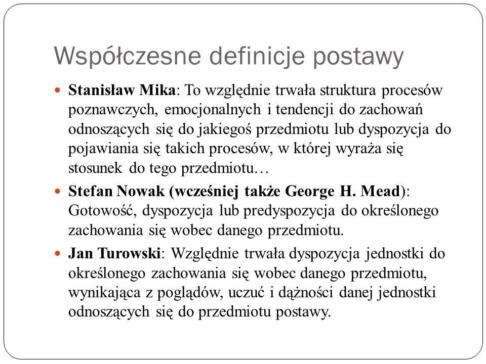 Współczesne definicje postawy Stanisław Mika: To względnie trwała struktura procesów poznawczych, emocjonalnych i tendencji do zachowań odnoszących si