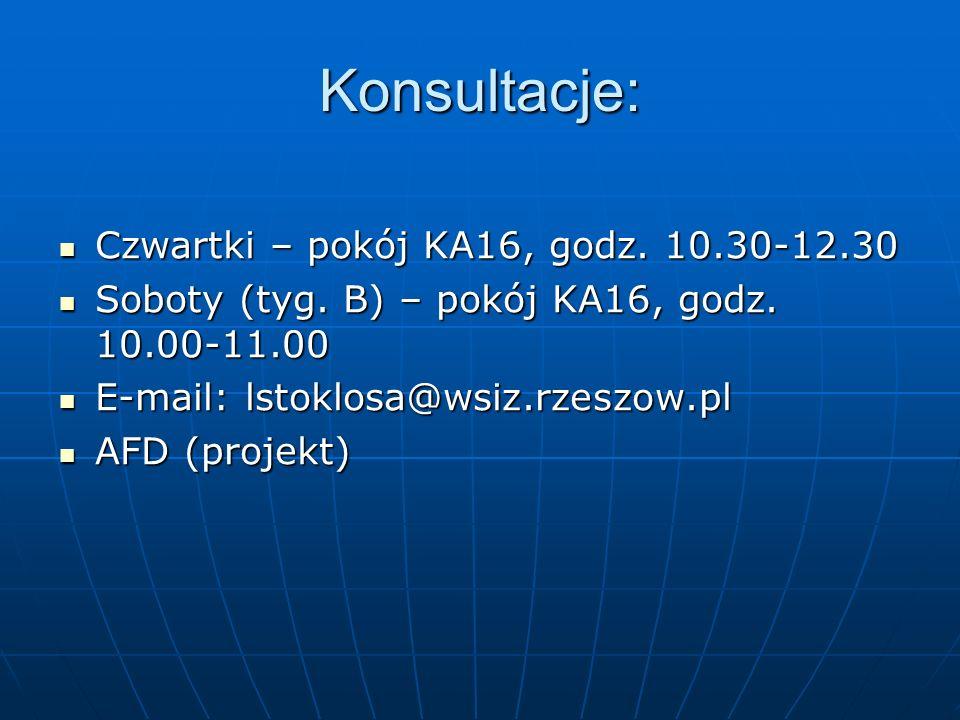 Konsultacje: Czwartki – pokój KA16, godz. 10.30-12.30 Czwartki – pokój KA16, godz. 10.30-12.30 Soboty (tyg. B) – pokój KA16, godz. 10.00-11.00 Soboty