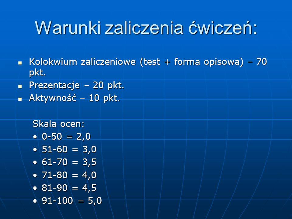 Warunki zaliczenia ćwiczeń: Kolokwium zaliczeniowe (test + forma opisowa) – 70 pkt. Kolokwium zaliczeniowe (test + forma opisowa) – 70 pkt. Prezentacj