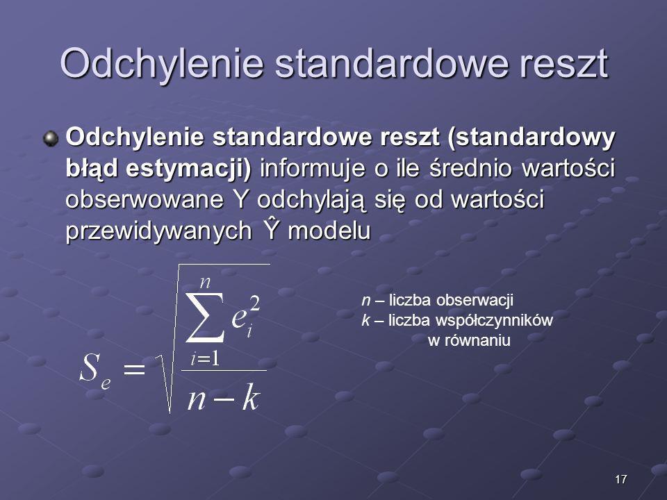 17 Odchylenie standardowe reszt Odchylenie standardowe reszt (standardowy błąd estymacji) informuje o ile średnio wartości obserwowane Y odchylają się