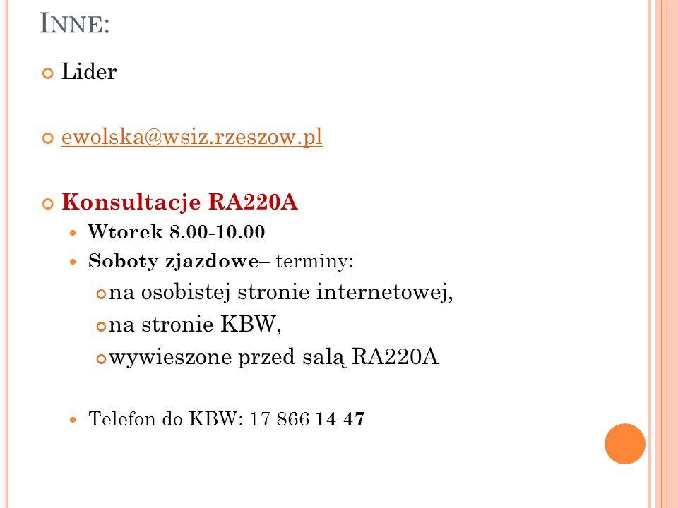 I NNE : Lider ewolska@wsiz.rzeszow.pl Konsultacje RA220A Wtorek 8.00-10.00 Soboty zjazdowe – terminy: na osobistej stronie internetowej, na stronie KBW, wywieszone przed salą RA220A Telefon do KBW: 17 866 14 47