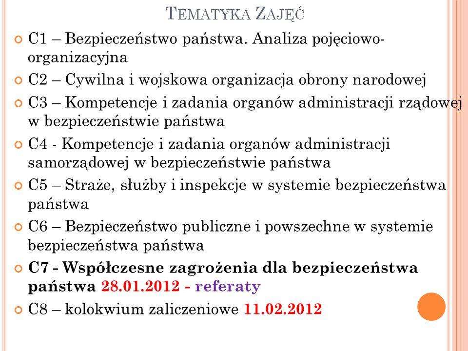 T EMATYKA Z AJĘĆ C1 – Bezpieczeństwo państwa.