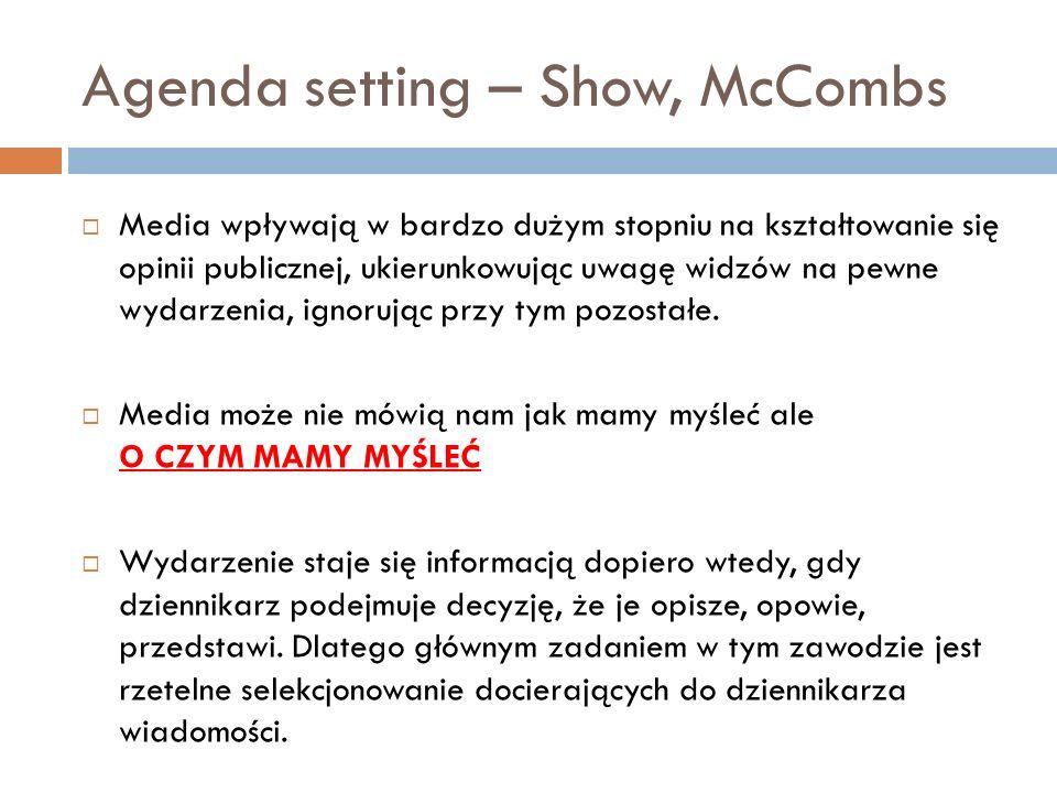 Agenda setting – Show, McCombs Media wpływają w bardzo dużym stopniu na kształtowanie się opinii publicznej, ukierunkowując uwagę widzów na pewne wyda