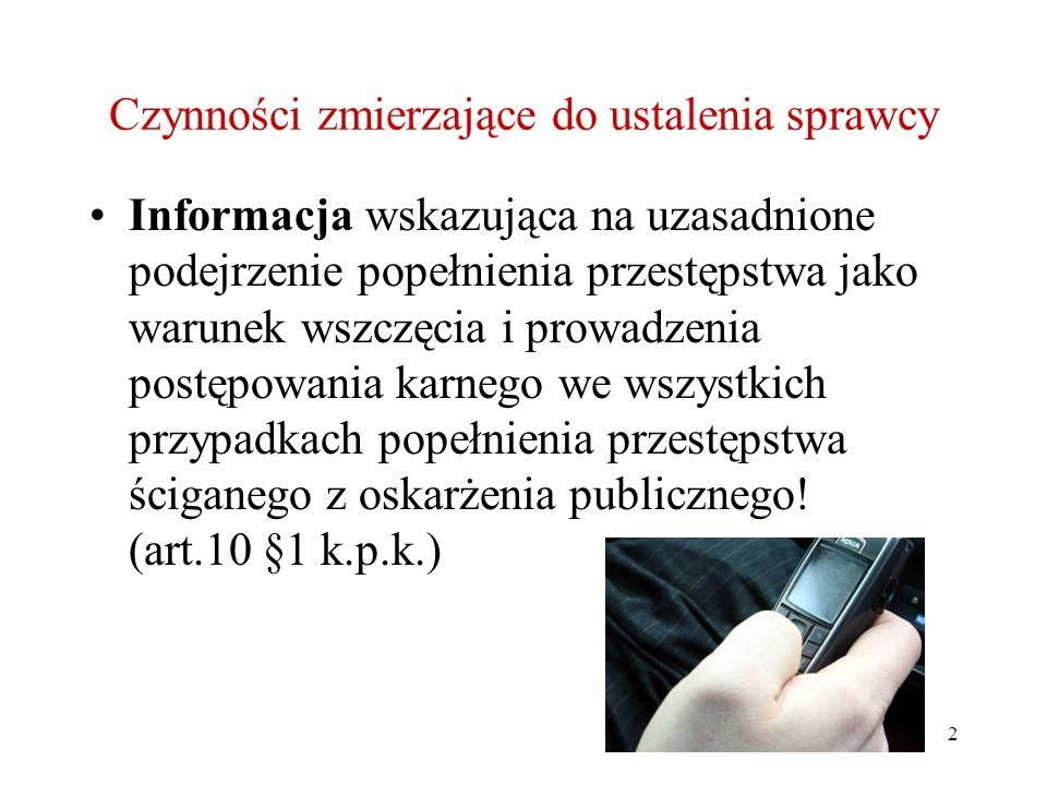 2 Czynności zmierzające do ustalenia sprawcy Informacja wskazująca na uzasadnione podejrzenie popełnienia przestępstwa jako warunek wszczęcia i prowad
