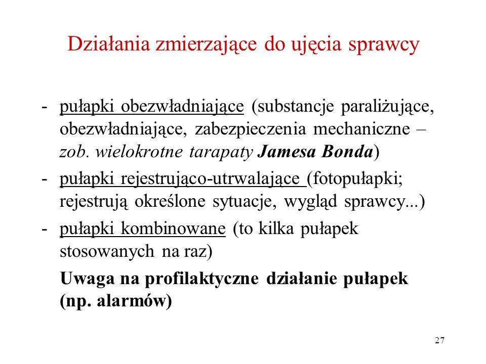 27 Działania zmierzające do ujęcia sprawcy -pułapki obezwładniające (substancje paraliżujące, obezwładniające, zabezpieczenia mechaniczne – zob. wielo