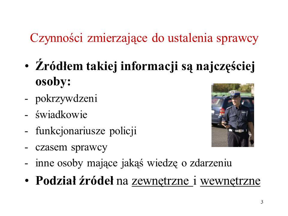 3 Czynności zmierzające do ustalenia sprawcy Źródłem takiej informacji są najczęściej osoby: -pokrzywdzeni -świadkowie -funkcjonariusze policji -czase