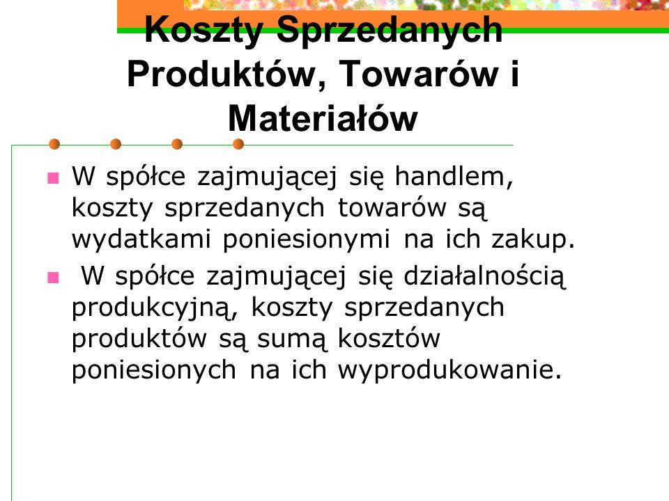 Koszty Sprzedanych Produktów, Towarów i Materiałów W spółce zajmującej się handlem, koszty sprzedanych towarów są wydatkami poniesionymi na ich zakup.