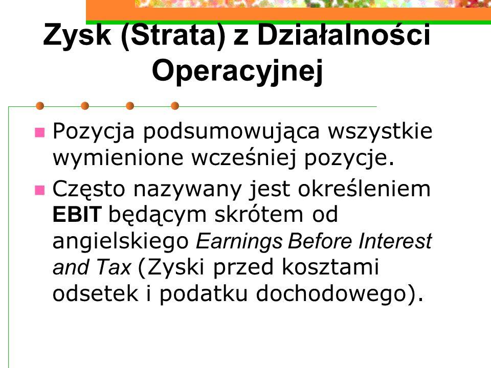 Zysk (Strata) z Działalności Operacyjnej Pozycja podsumowująca wszystkie wymienione wcześniej pozycje. Często nazywany jest określeniem EBIT będącym s