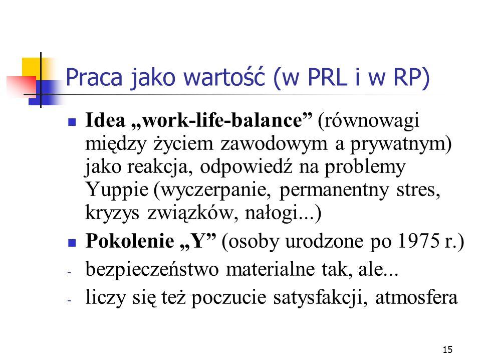 15 Praca jako wartość (w PRL i w RP) Idea work-life-balance (równowagi między życiem zawodowym a prywatnym) jako reakcja, odpowiedź na problemy Yuppie (wyczerpanie, permanentny stres, kryzys związków, nałogi...) Pokolenie Y (osoby urodzone po 1975 r.) - bezpieczeństwo materialne tak, ale...