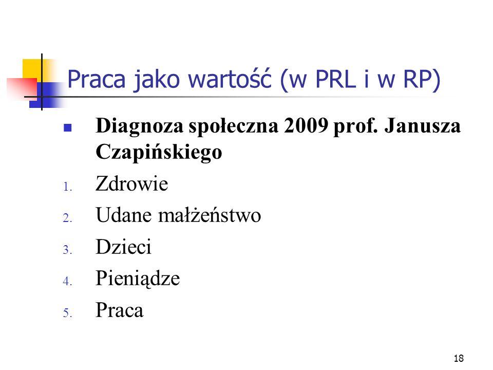 18 Praca jako wartość (w PRL i w RP) Diagnoza społeczna 2009 prof. Janusza Czapińskiego 1. Zdrowie 2. Udane małżeństwo 3. Dzieci 4. Pieniądze 5. Praca