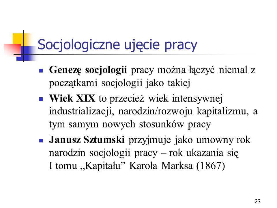 23 Socjologiczne ujęcie pracy Genezę socjologii pracy można łączyć niemal z początkami socjologii jako takiej Wiek XIX to przecież wiek intensywnej in