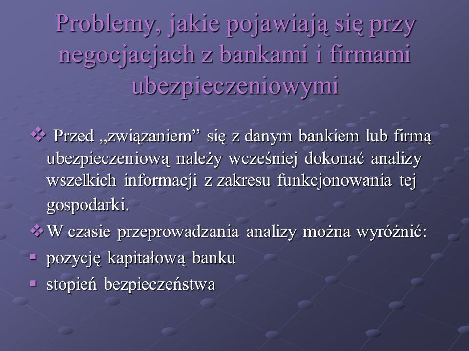 Problemy, jakie pojawiają się przy negocjacjach z bankami i firmami ubezpieczeniowymi Przed związaniem się z danym bankiem lub firmą ubezpieczeniową n