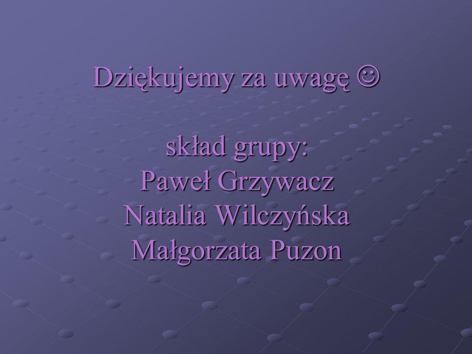 Dziękujemy za uwagę skład grupy: Paweł Grzywacz Natalia Wilczyńska Małgorzata Puzon