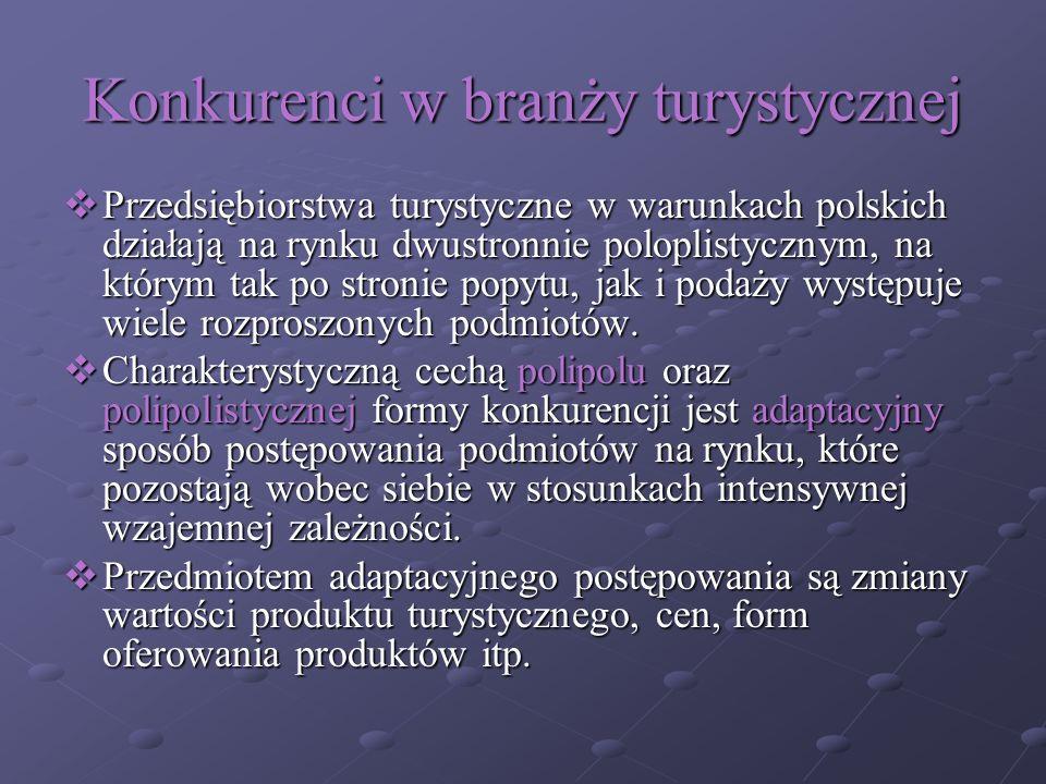 Konkurenci w branży turystycznej Przedsiębiorstwa turystyczne w warunkach polskich działają na rynku dwustronnie poloplistycznym, na którym tak po str
