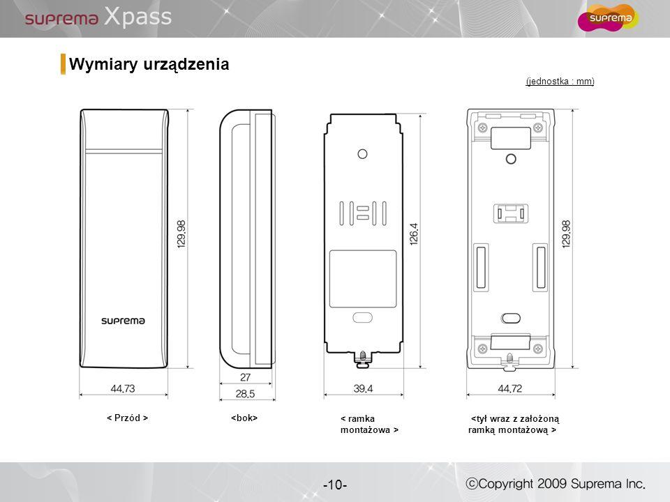 10 - -10- Wymiary urządzenia (jednostka : mm)