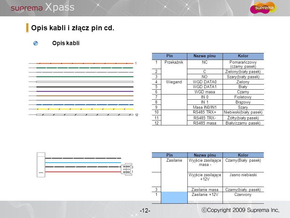 12 - -12- Opis kabli i złącz pin cd. PinNazwa pinuKolor ZasilanieWyjście zasilające masa - Czarny(Biały pasek) Wyjście zasilające +12V Jasno niebieski