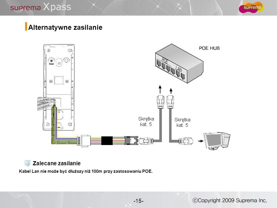 15 - -15- Alternatywne zasilanie Kabel Lan nie może być dłuższy niż 100m przy zastosowaniu POE. Zalecane zasilanie
