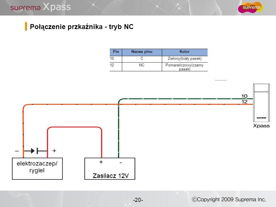20 - -20- Połączenie przkaźnika - tryb NC PinNazwa pinuKolor 10CZielony(biały pasek) 12NCPomarańczowy(czarny pasek)