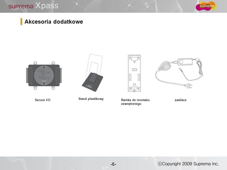 6 - -6- Stand plastikowy Secure I/O Akcesoria dodatkowe Ramka do montażu zewnętrznego zasilacz