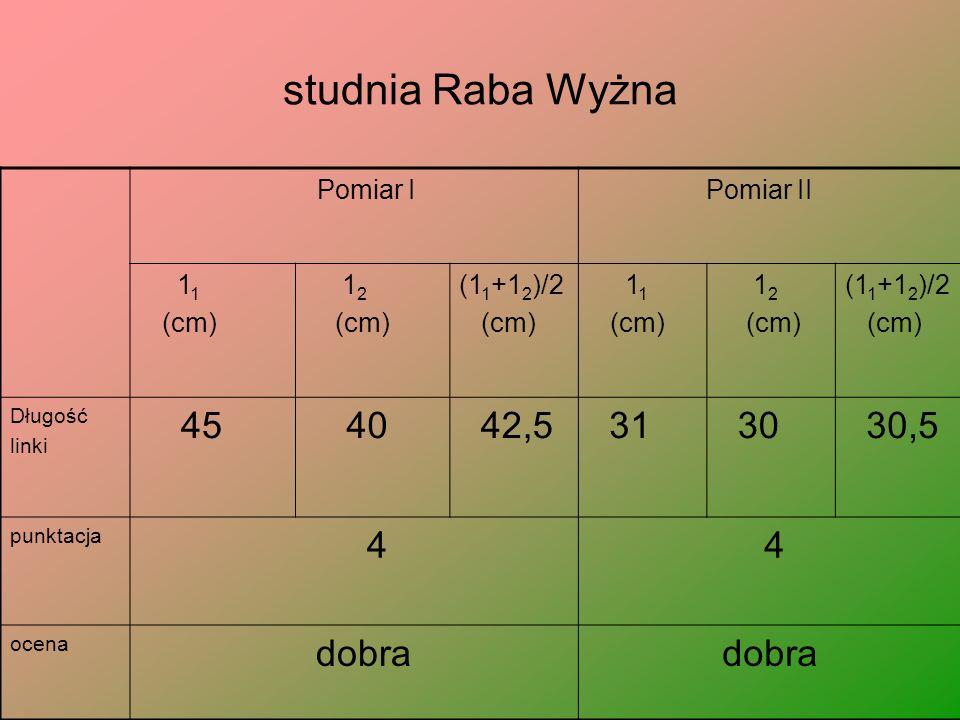 studnia Raba Wyżna Pomiar I Pomiar II 1 1 (cm) 1 2 (cm) (1 1 +1 2 )/2 (cm) 1 1 (cm) 1 2 (cm) (1 1 +1 2 )/2 (cm) Długość linki 45 40 42,5 31 30 30,5 punktacja 4 4 ocena dobra