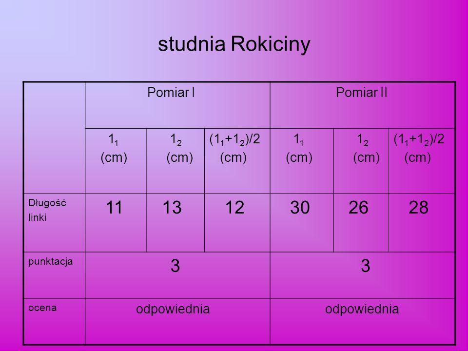 studnia Rokiciny Pomiar I Pomiar II 1 1 (cm) 1 2 (cm) (1 1 +1 2 )/2 (cm) 1 1 (cm) 1 2 (cm) (1 1 +1 2 )/2 (cm) Długość linki 11 13 12 30 26 28 punktacja 3 3 ocena odpowiednia