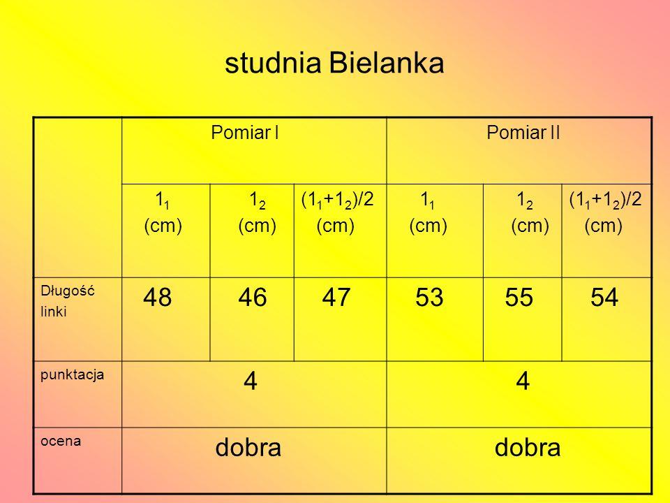 studnia Bielanka Pomiar I Pomiar II 1 1 (cm) 1 2 (cm) (1 1 +1 2 )/2 (cm) 1 1 (cm) 1 2 (cm) (1 1 +1 2 )/2 (cm) Długość linki 48 46 47 53 55 54 punktacja 4 4 ocena dobra
