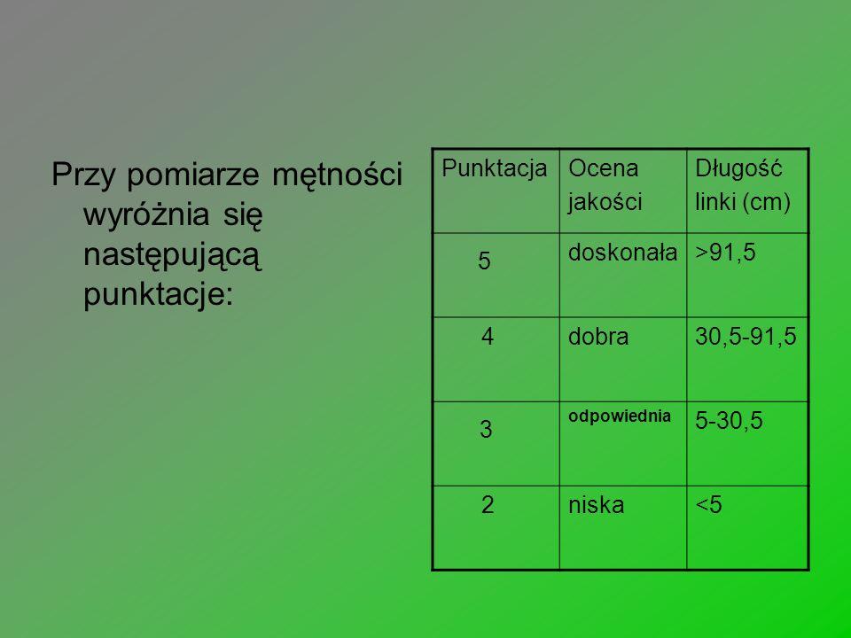 Przy pomiarze mętności wyróżnia się następującą punktacje: PunktacjaOcena jakości Długość linki (cm) 5 doskonała>91,5 4dobra30,5-91,5 3 odpowiednia 5-30,5 2niska<5