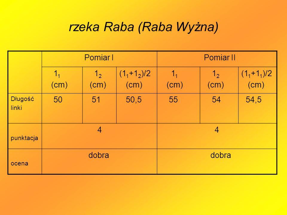 rzeka Raba (Raba Wyżna) Pomiar I Pomiar II 1 1 (cm) 1 2 (cm) (1 1 +1 2 )/2 (cm) 1 1 (cm) 1 2 (cm) (1 1 +1 1 )/2 (cm) Długość linki 50 51 50,5 55 54 54,5 punktacja 4 4 ocena dobra