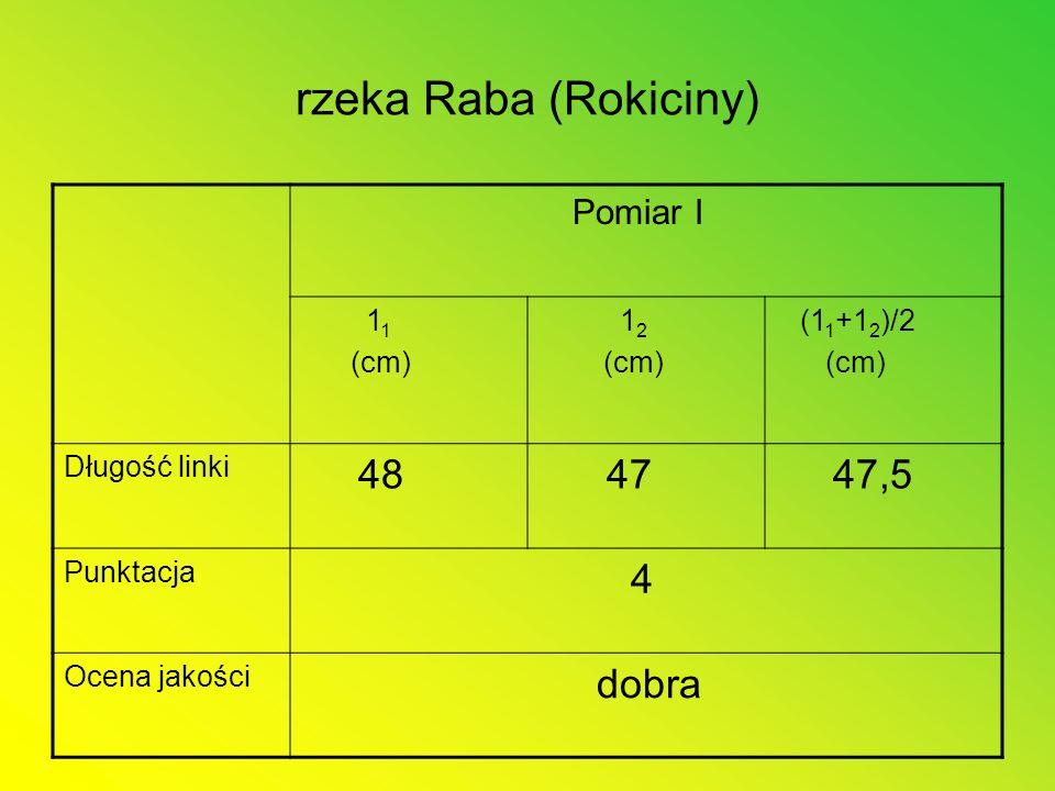 rzeka Raba (Rokiciny) Pomiar I 1 1 (cm) 1 2 (cm) (1 1 +1 2 )/2 (cm) Długość linki 48 47 47,5 Punktacja 4 Ocena jakości dobra