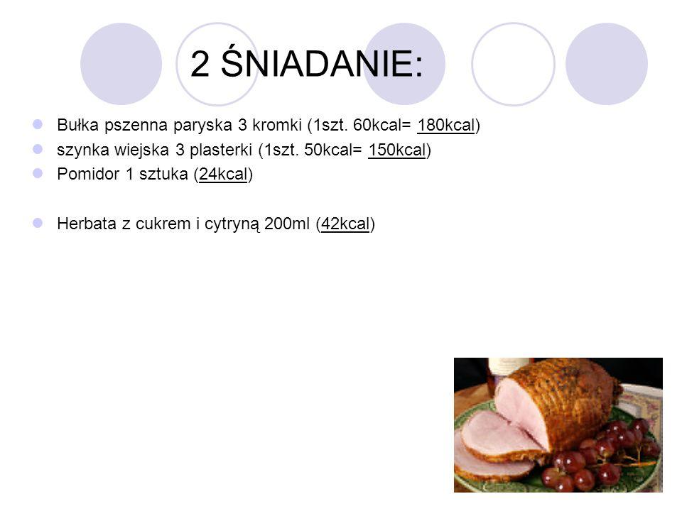 2 ŚNIADANIE: Bułka pszenna paryska 3 kromki (1szt. 60kcal= 180kcal) szynka wiejska 3 plasterki (1szt. 50kcal= 150kcal) Pomidor 1 sztuka (24kcal) Herba