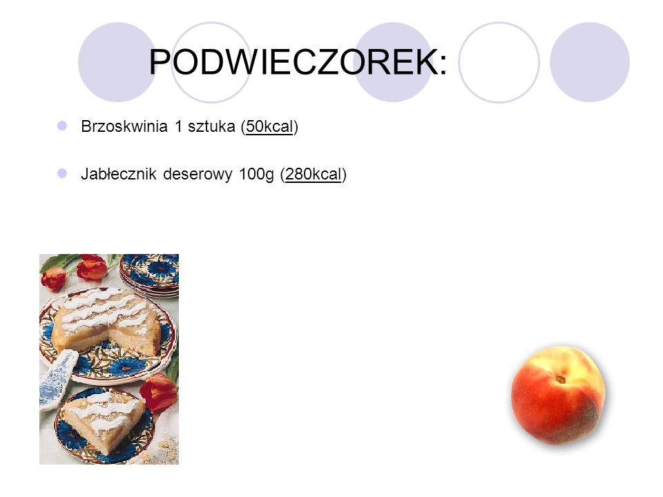 PODWIECZOREK: Brzoskwinia 1 sztuka (50kcal) Jabłecznik deserowy 100g (280kcal)