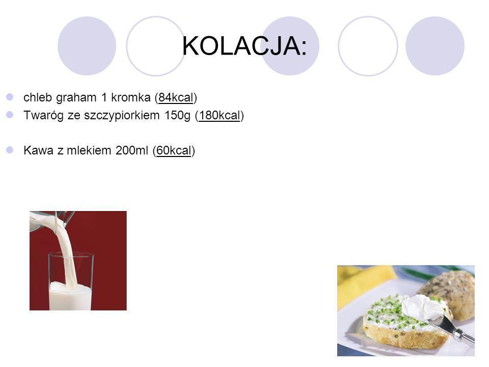 KOLACJA: chleb graham 1 kromka (84kcal) Twaróg ze szczypiorkiem 150g (180kcal) Kawa z mlekiem 200ml (60kcal)
