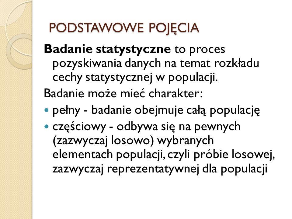 PODSTAWOWE POJĘCIA Badanie statystyczne to proces pozyskiwania danych na temat rozkładu cechy statystycznej w populacji. Badanie może mieć charakter: