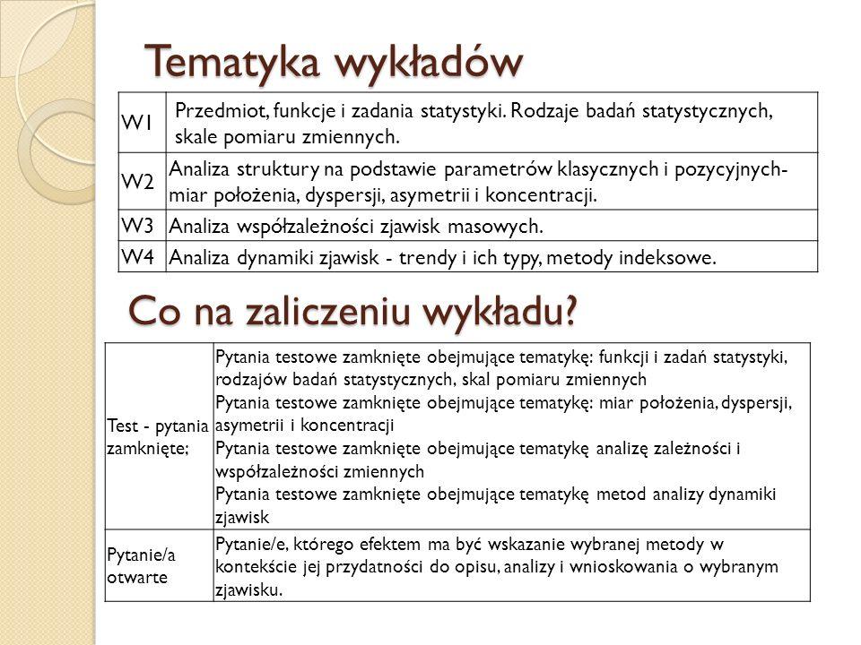 Tematyka wykładów W1 Przedmiot, funkcje i zadania statystyki. Rodzaje badań statystycznych, skale pomiaru zmiennych. W2 Analiza struktury na podstawie
