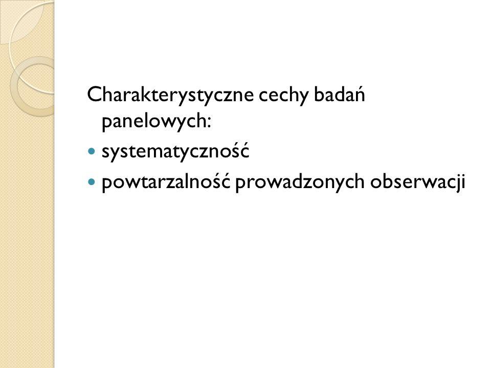 Charakterystyczne cechy badań panelowych: systematyczność powtarzalność prowadzonych obserwacji
