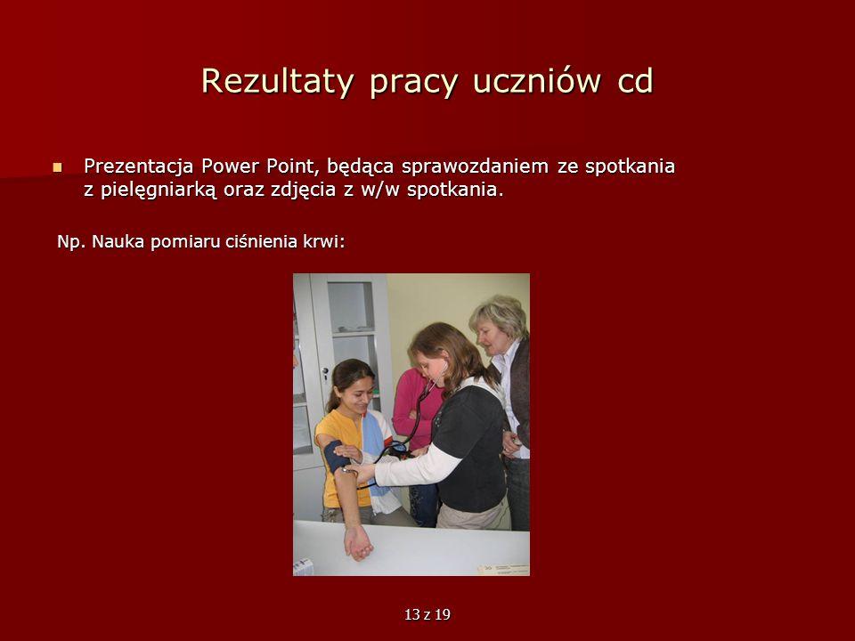 13 z 19 Rezultaty pracy uczniów cd Prezentacja Power Point, będąca sprawozdaniem ze spotkania z pielęgniarką oraz zdjęcia z w/w spotkania. Prezentacja