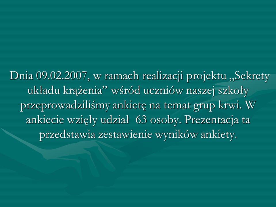 Dnia 09.02.2007, w ramach realizacji projektu Sekrety układu krążenia wśród uczniów naszej szkoły przeprowadziliśmy ankietę na temat grup krwi. W anki