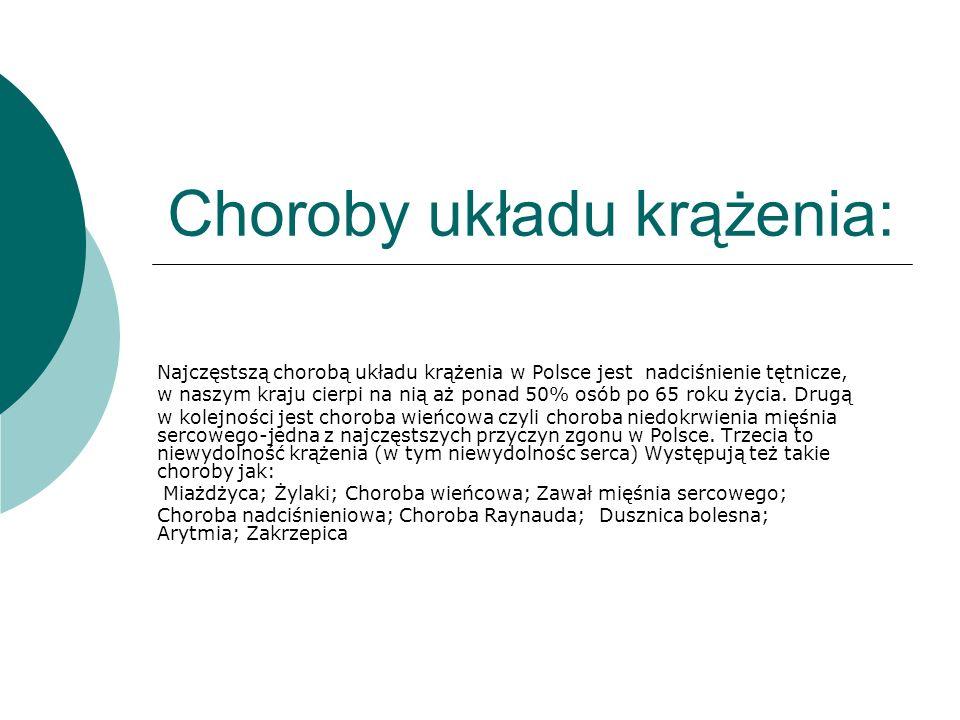 Choroby układu krążenia: Najczęstszą chorobą układu krążenia w Polsce jest nadciśnienie tętnicze, w naszym kraju cierpi na nią aż ponad 50% osób po 65