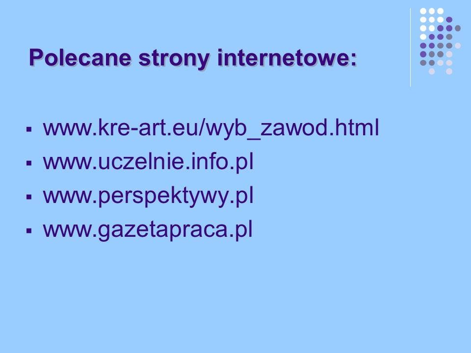 Polecane strony internetowe: www.kre-art.eu/wyb_zawod.html www.uczelnie.info.pl www.perspektywy.pl www.gazetapraca.pl