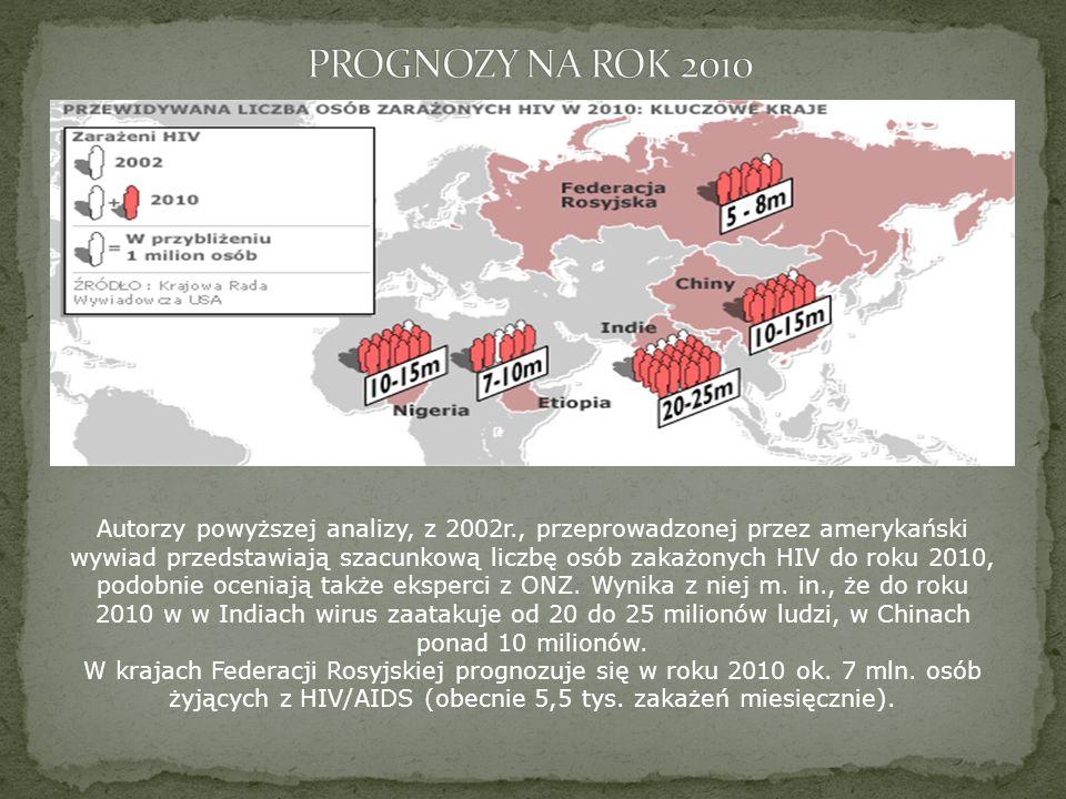 Autorzy powyższej analizy, z 2002r., przeprowadzonej przez amerykański wywiad przedstawiają szacunkową liczbę osób zakażonych HIV do roku 2010, podobn