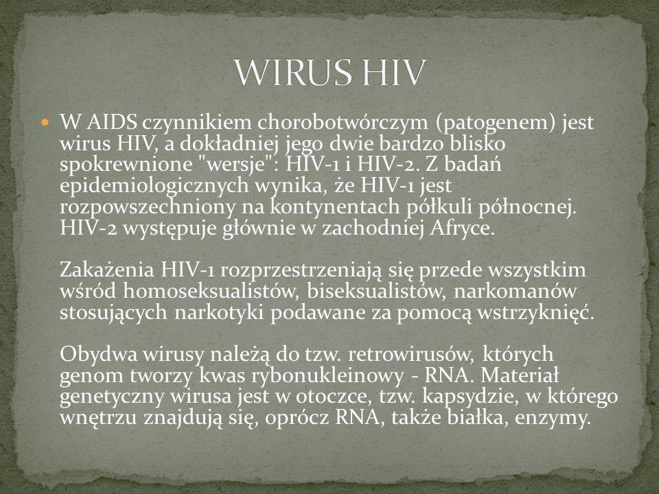 AIDS charakteryzuje się niedoborami immunologicznymi typu komórkowego, związanymi z obniżaniem się liczby limfocytów pomocniczych, tzw.