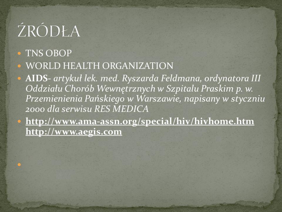 TNS OBOP WORLD HEALTH ORGANIZATION AIDS- artykuł lek. med. Ryszarda Feldmana, ordynatora III Oddziału Chorób Wewnętrznych w Szpitalu Praskim p. w. Prz
