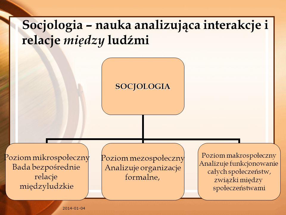 2014-01-04 Socjologia – nauka analizująca interakcje i relacje między ludźmiSOCJOLOGIA Poziom mikrospołeczny Bada bezpośrednie relacje międzyludzkie P